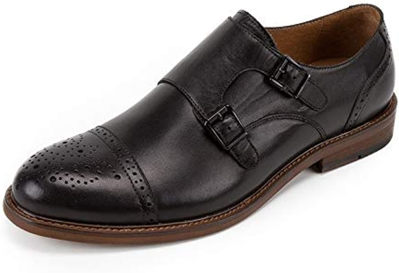 EGS-schuhe Herrenschuhe Lederkleid Casual Herrenschuhe Doppelschnalle Mengke Schuhe Handmade Sommer British Brock,Grille Schuhe (Farbe   schwarz, Größe   38-EU)