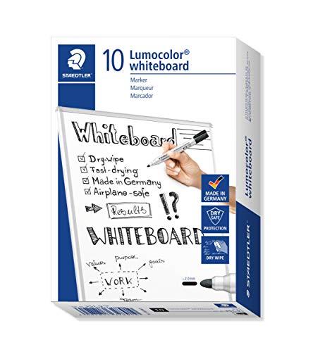 Staedtler 351-9 - Rotuladores para pizarra blanca Lumocolor, inodoro, secado rápido y recargable, paquete de 10 unidades, color negro
