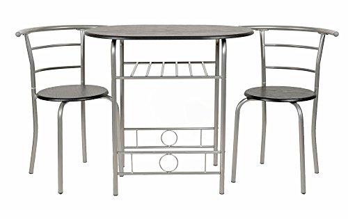 ts-ideen Set di 3 Pezzi da Cucina Tavolo e sedie da Pranzo Struttura in Alu + MDF in Argento e Nero per Sala da Pranzo Cucina Casa dello Studente