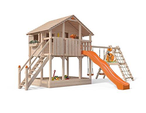 Isidor Atario Spielturm Kletterturm Baumhaus Rutsche Schaukeln Treppe (erweiterter Anbau, Orange)