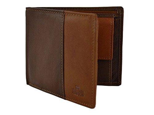 Rowallan - Herren Leder Portemonnaie 3-fach klappbar 2-Ton Bronte Geschenk Box Stylisches Münzfach