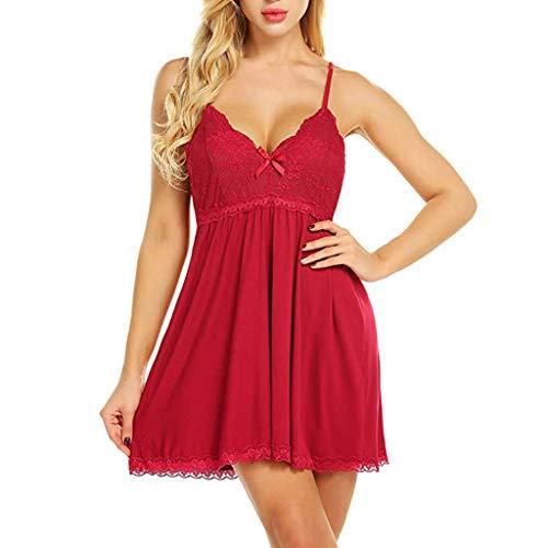 Womteam Negligee Damen V-Ausschnitt Babydoll Lingerie Sexy Nachtwäsche Reizwäsche Nachthemd Lingerie Träger Kleid Spitze Dekor Dessous Set (rot,S)