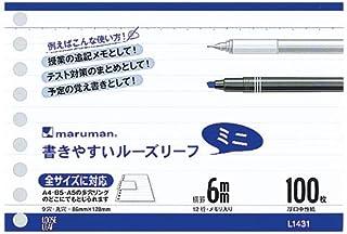 マルマン B7変形 書きやすいルーズリーフ ミニ 6mm罫 100枚 L1431 5個セット