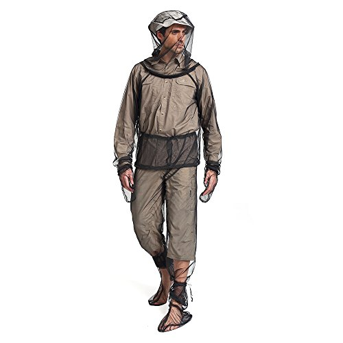 Lixada Mesh Suit with Jacket Hood,Mitts & Socks and Storage Sack for Fishing, Hiking, Camping