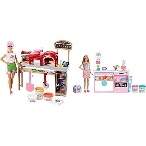 Barbie Quiero Ser Pizza Chef, Muñeca Y Accesorios De Juguete, Regalo para Niñas Y Niños 3-9 Años + Y Su Pastelería, Muñeca con Cocina Y Accesorios, Regalo para Niñas Y Niños 3-9 Años