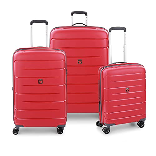 RONCATO Flight DLX Set 3 maletas rígidas ampliables 4 ruedas con TSA Rojo