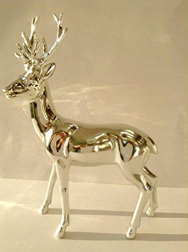 Statuetta cervo in piedi con corna (argento lucido, 22 cm)