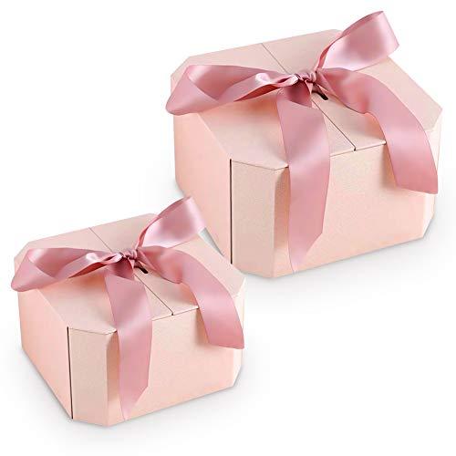 Cajas decorativas, caja de cartón octogonal de 2 tamaños, caja de almacenamiento magnética decorativa para dama de honor y novios, boda, Halloween, Navidad, día de San Valentín (rosa)