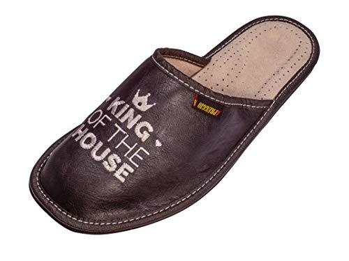 APREGGIO - Pantofole in Pelle per Uomo - Suola in Gomma Piena - Confortevoli da Indossare - Morbidezza - Prodotto 100% Naturale - Realizzate a Mano (Nero, 44)