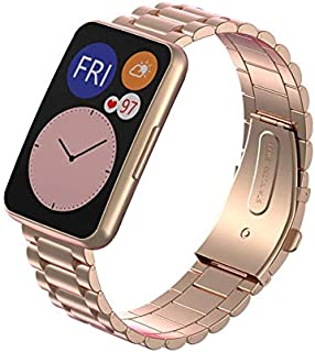 Dado Replacement Stainless steel Band compatible with Huawei Fit Watch, 3 beads stainless steel strap (Rose Gold)