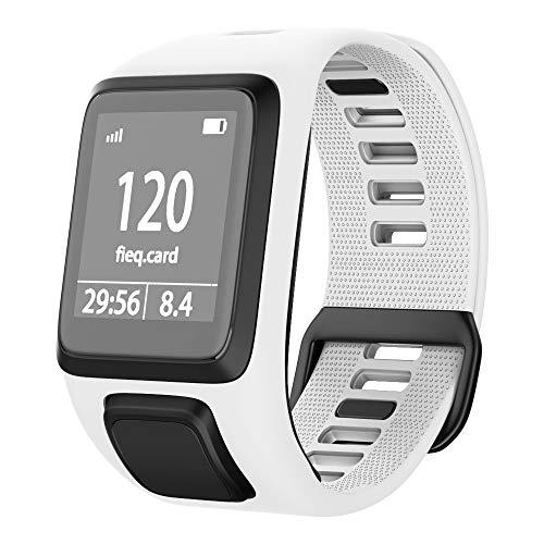 ANBEST Kompatibles mit Tomtom Runner 3 Armband, Umweltschutz TPU Band für Tomtom Spark 3, Runner 2, Golfer 2, Adventurer Smart Watches(Weiß)