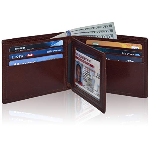 Leather Wallet for Men Slim Small RFID Blocking Front Pocket Smart Travel Wallet