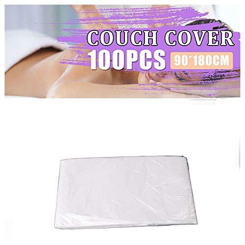 100 Stück Einweg Bettlaken Rolls für Massage, Kunststoff Massage Couch Cover, Einweg Bettwäsche, Transparent, Wasserdichtes Massagebett Schönheitsbett 90 x 180 cm