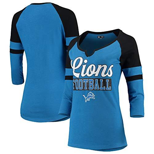 New Era Detroit Lions Ladies Slub Jersey 3/4 Sleeve Raglan Split Scoop T-Shirt Large
