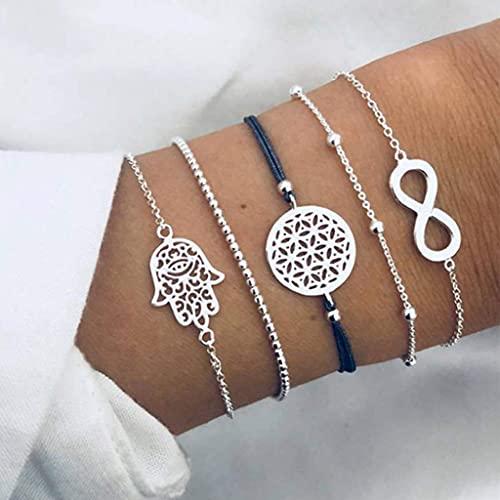 Branets - Juego de pulseras con cuentas en capas Boho, pulsera infinita de plata, cadena de mano hueca, accesorios de joyería para mujeres y niñas (5 piezas)