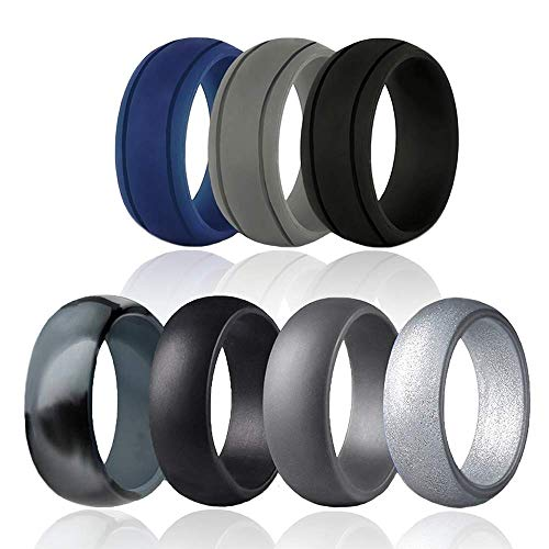 CANAMI Silicone Wedding Ring for Men, Rubber Wedding Bands Breathable and Comfortable Fit