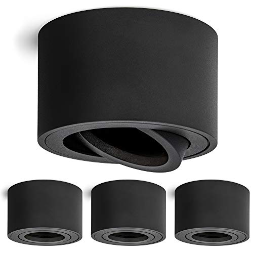 4 Stück linovum Aufbauspot SMOL extra flach schwenkbar in schwarz matt & rund - Decken Aufbauleuchte mit Ø 80 mm für LED Module
