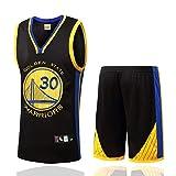 DDOYY Ropa de baloncesto para hombres Stephen Curry # 30 Guerreros sin mangas, juego de baloncesto Jersey sin mangas deportes al aire libre Fitness S-3XL-negro-M