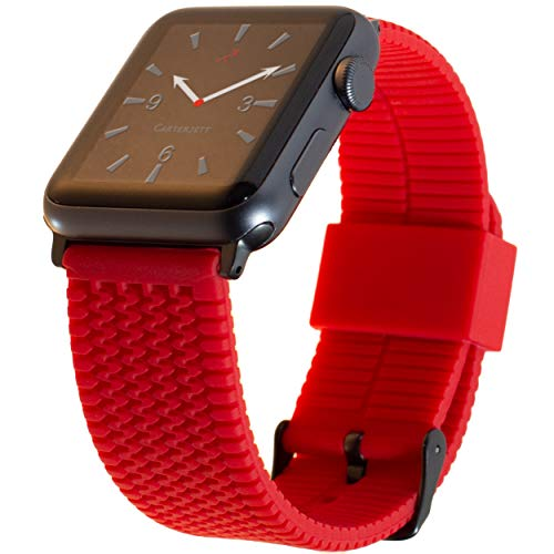 Carterjett Compatible Apple Watch Band 42mm 44mm Red Tire Tread Rubber Sport iWatch Bands Silicone Replacement Wrist Strap, Gray Adapters Buckle Sport Nike Series 4 3 2 1, 42 44 M/L Red