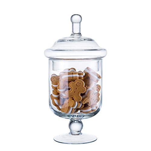 "Diamond Star Clear Glass Apothecary Jars, Candy Buffet Display, Elegant Storage Jar, Decorative Wedding Candy Organizer Canisters (Height: 9"" Body: 5"")"