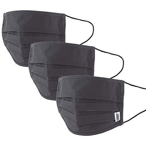 Mund-Nasen-Maske 3er Set Gesichtsmaske Behelfsmaske Baumwolle Stoffmaske wiederverwendbar Maske waschbar anthrazit