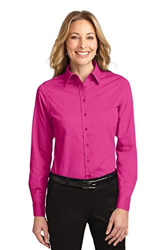 Port Authority Ladies Long Sleeve Easy Care Shirt, Tropical Pink, Small