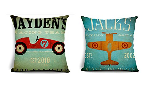 2 x kussenhoezen, 45 x 45 cm, vlieger, vliegtuig, raceauto, racewagen, racing, rode tuin, terras, lounge, retro, nostalgie, kussenslopen, vintage, sierkussens, sierkussens, decoratieve sofa