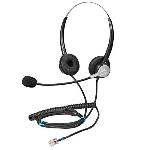 Ymate - Auriculares con Cable RJ9 para Mitel Polycom NEC Aastra Northern Telecom Siemens/ROLM