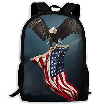 SARA NELL School Backpack Bald Eagle With American Flag Bookbag Casual Travel Bag For Teen Boys Girls