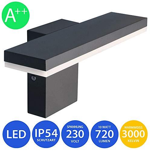 MODERNE LED Außenwandleuchte Wandleuchte 10W warmweiß schwarz Wandlampe Wandleuchte Außenlampe Lampe 17601