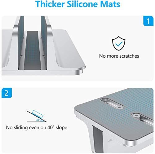 OMOTON Vertikal Verstellbarer Laptopständer, Desktop-Laptop-Ständer aus Aluminium mit Einstellbarer Dockgröße, für alle MacBook, Lenovo, Samsung, ASUS, Acer Laptops (bis zu 17,3 Zoll), Silber