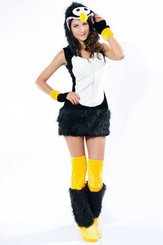 Flauschiges Fell-Kostüm SEXY PINGUIN, Größe:XS