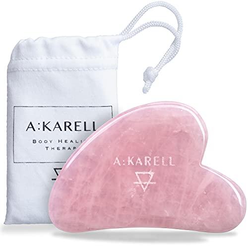 A:KARELL Gua Sha Cuarzo Rosa para Masaje Facial Piel Piedra Natural Autentico y Guasha...