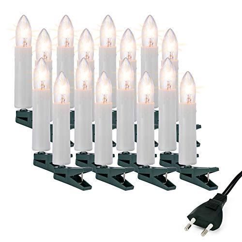 Hellum Christbaumbeleuchtung innen, 16x Riffel-Kerzen weiß mit Wachstropfen Schaft, Weihnachtsbaum Lichterkette mit grünem Kabel, Fassungsabstand 40 cm, inkl. Ersatzlämpchen 611618