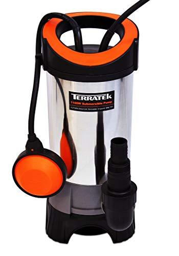 Terratek Edelstahl Tauchpumpe (1100 W, max. 15000 l/Std, bis zu 35 mm Partikelgröße, einstellbarer Schwimmschalter, inkl. Universalanschluss Außengewinde und 90°-Winkel)