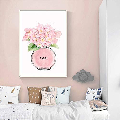 GUDOJK muurschildering roze hortensia bloem muurkunst canvas schilderij Nordic poster afdrukken aquarelafbeeldingen voor woonkamer wanddecoratie 40x60cm(16x24inch)