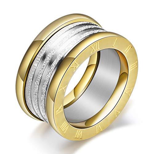 Anello in acciaio e titanio con numeri romani e brillantini e Acciaio inossidabile, 54 (17.2), colore: Gold, cod. RomanStardustRingN