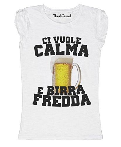 New T-Shirt Donna Fiammata Ci Vuole Calma E Birra Idea Regalo