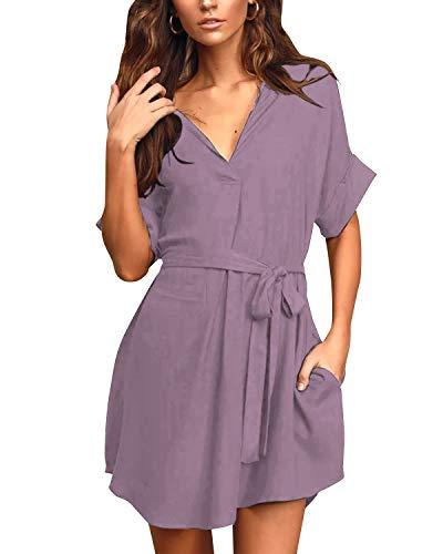 YOINS Sommerkleid Damen Kurz Schulterfrei Kleid Elegante Kleider für Damen Strandmode Langarm Neckholder A Linie V-Pink S