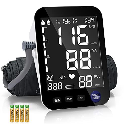 Heinstian Misuratore Pressione da Braccio Digitale, Grande Schermo LCD Macchina per Misurare la pressione, 2 Utente Può memorizzare 3 mesi di dati, con 4 batterie AAA