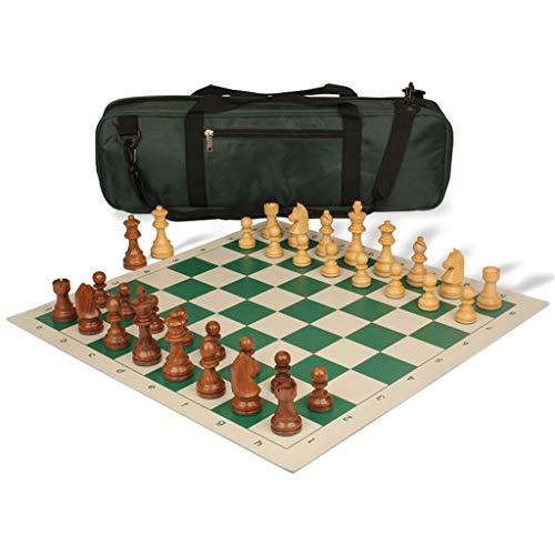 Pank Ajedrez de Madera, Juego de ajedrez portátil Exquisito de Alta Gama, 20.5 Pulgadas, con Mochila, para Adultos, niños, Juegos, Viajes, Salidas, Regalos (Color : Green, tamaño : 20.5inch)