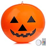 Halloween Inflatable Pumpkin Decorations 16 inches Inflatable Balloon for Halloween Holiday Outdoor Yard Decorations with Waterproof Multicolor LED Lights and Remote Control