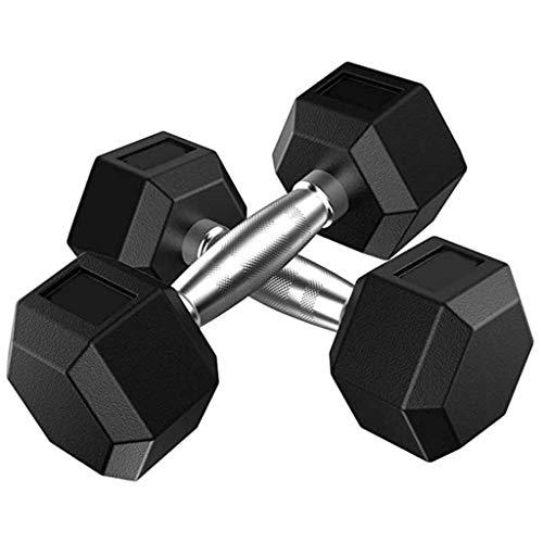 Pesas con mancuernas de hierro sólido hexagonal con mancuernas de goma Encased Hex mancuerna con asas de metal Home Fitness Deportivo Equipmen pesas con mancuernas (Color: 30 kg (15 kg * 2)) Xping