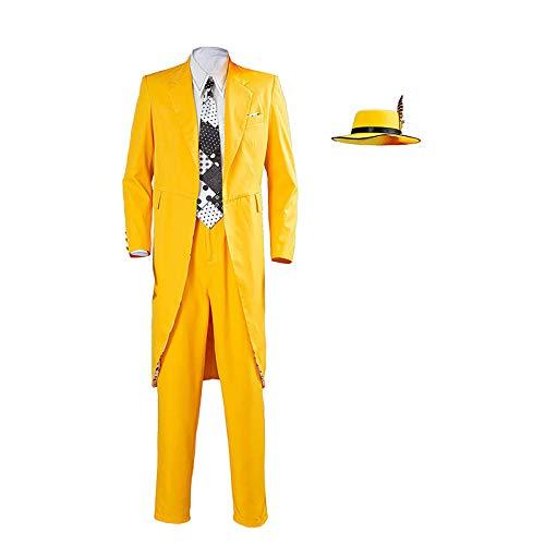 Shihong-G Stanley Ipkiss Disfraz de Cosplay Jim Carrey Disfraz de pelcula de Halloween Disfraz de Stanley Ipkiss Traje Largo Amarillo Abrigo y Gorra con mscara para Hombres