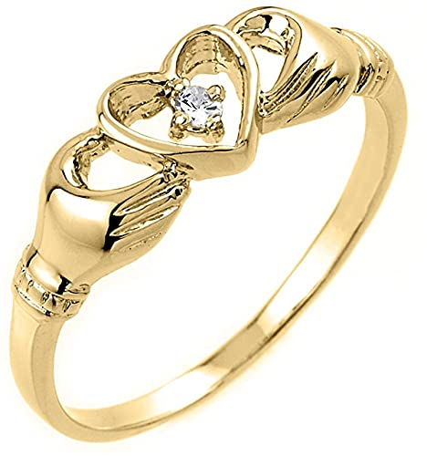 10k Yellow Gold Diamond Accent Solitaire Open Heart Claddagh Ring (J-K Color, I1-I2 Clarity)- Size 7
