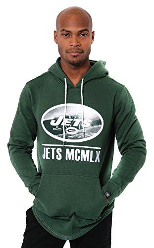 Ultra Game NFL New York Jets Mens Fleece Hoodie Pullover Sweatshirt Embroidered JTM1731A, Team Color, Medium