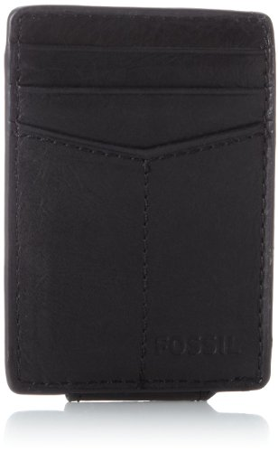 Fossil Men's Ingram Leather Minimalist Front Pocket Card Case Wallet, Black