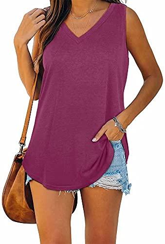 ASKSA Damska bluzka z dekoltem w kształcie litery V, bez rękawów, tank top, bluzka na lato, elegancka koszulka, luźny krój, jednokolorowa