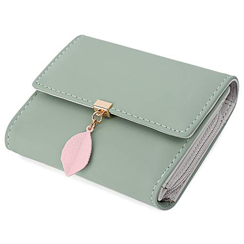 UTO Small Wallet for Women PU Leather Leaf Pendant Card Holder Organizer Zipper Coin Purse A Green