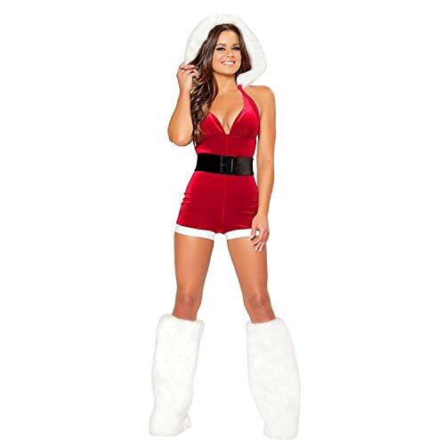 YeeHoo Incappucciato Costume Babbo Natale Donna Abito Vestito